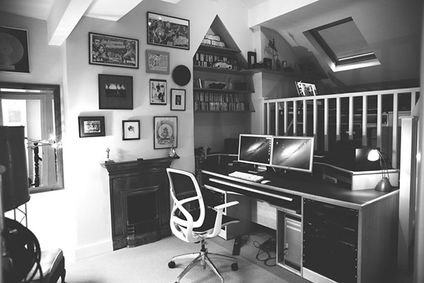 composers recording studio desk