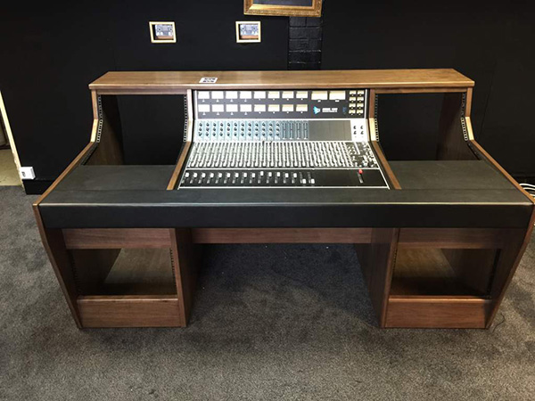 Custom recording studio furniture for the API 1604 Mixing desk